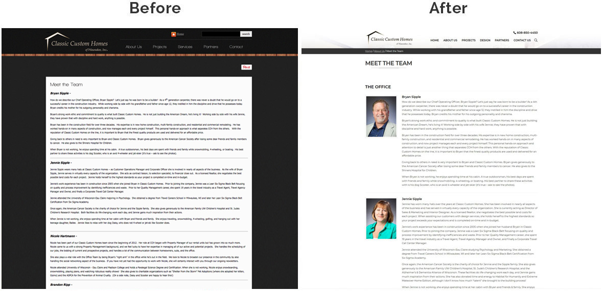 Before & After Screenshot of Classic Custom Homes's Inside Page