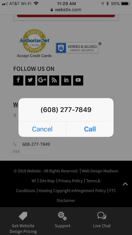 Clickable phone number on an iPhone