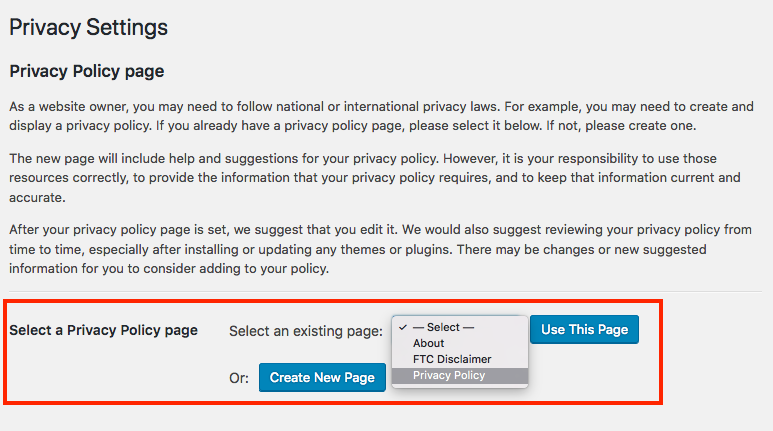 Go into Settings > Privacy to set your privacy policy page