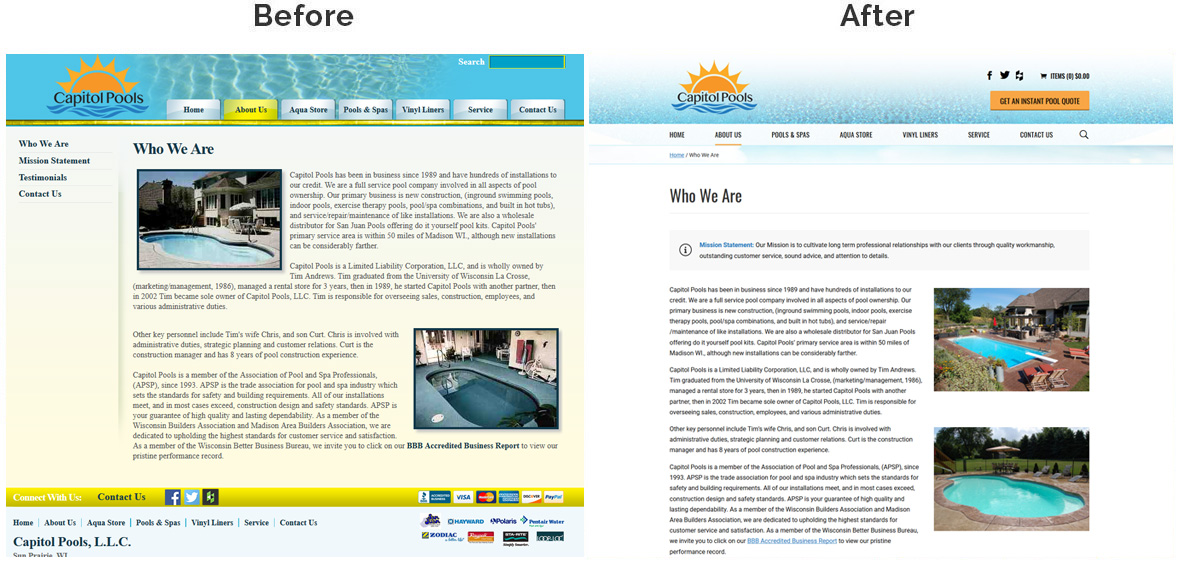 Before & After Screenshot of Capitol Pools Inside Page