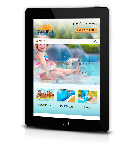 Tablet View of Capitol Pools Home Page
