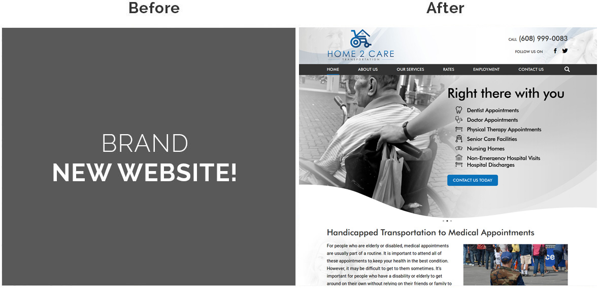 Before & After Screenshot of Home2Care Transportation Home Page