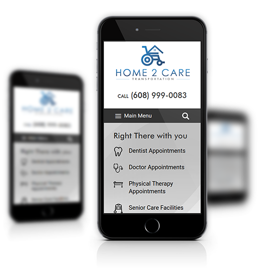 Mobile View of Home2Care Transportation Home Page