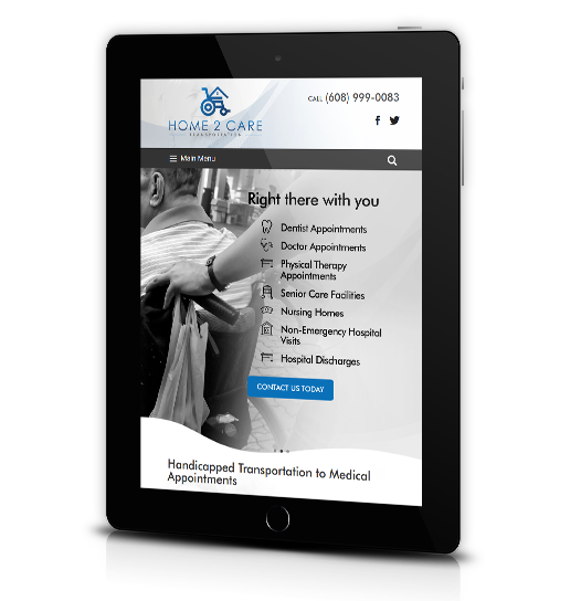 Tablet View of Home2Care Transportation Home Page