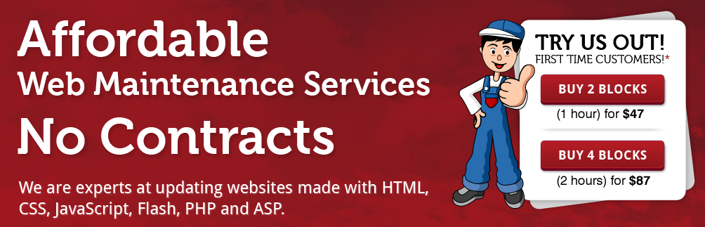 Affordable website mainenance with no conracts