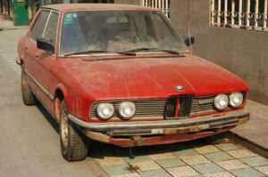 Old, clunky BMW that's dirty